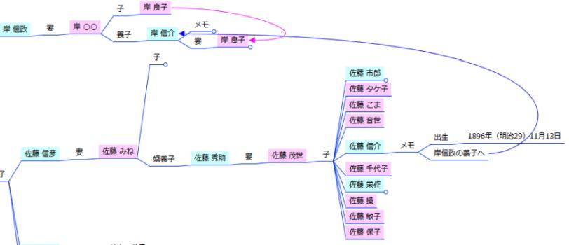 家系図マインドマップ - 養子