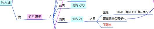 家系図マインドマップ - 不明点 - 竹内茂